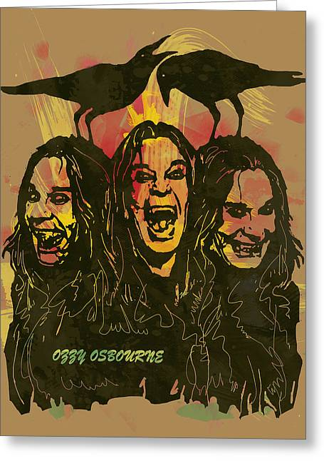 Lead Mixed Media Greeting Cards - Ozzy Osbourne Pop Stylised Art Poster Greeting Card by Kim Wang