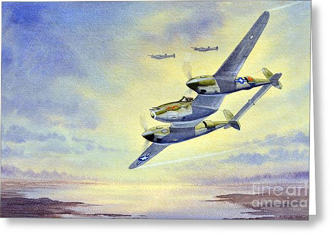 P-38 Lightning Aircraft Greeting Card by Bill Holkham