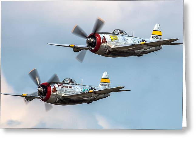 Thunderbolt Greeting Cards - P-47 Formation Greeting Card by Bill Lindsay