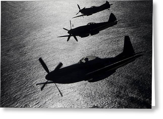 P-51 Cavalier Mustang With Supermarine Greeting Card by Daniel Karlsson