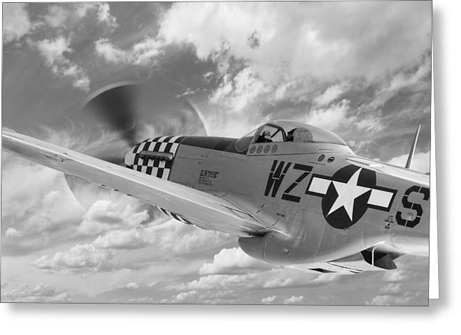 North American P51 Mustang Photographs Greeting Cards - P-51 in the Clouds - Black and White Greeting Card by Gill Billington