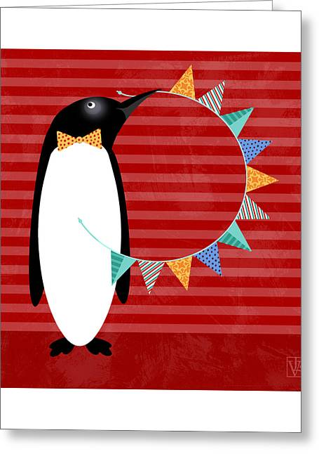 Illustrated Letter Greeting Cards - P is for Penguin Greeting Card by Valerie   Drake Lesiak