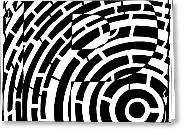 Maze Mixed Media Greeting Cards - P Maze Greeting Card by Yonatan Frimer Maze Artist