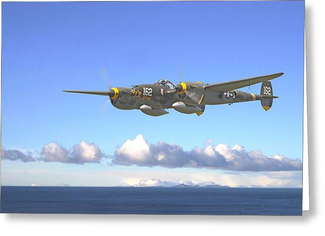 Military Aviation Greeting Cards - P38 - Long Way Home Greeting Card by Pat Speirs