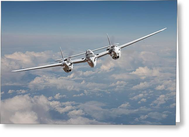 Military Aviation Greeting Cards - P38 - Polished Performance Greeting Card by Pat Speirs