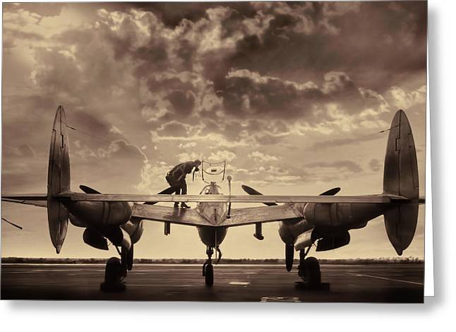 P38 Sunset Mission V2 Greeting Card by Peter Chilelli