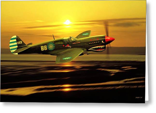 Military Airplanes Greeting Cards - P40 Warhawk WW2 US Aviation Art Greeting Card by John Wills