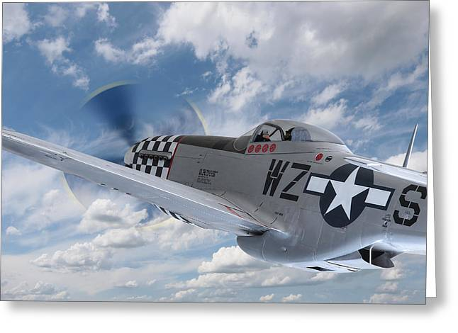 P51 In The Clouds Greeting Card by Gill Billington