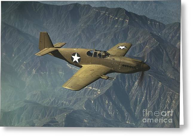 P51 Mustang in Flight Greeting Card by Padre Art