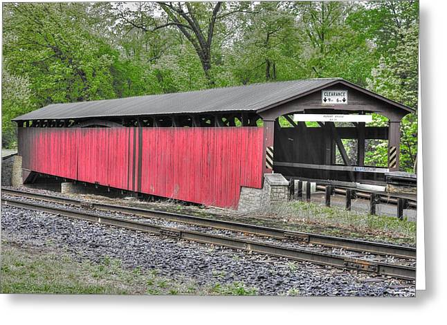 Fishing Creek Greeting Cards - PA Country Roads - For Want of Horse Drawn Buggies and Iron Horses - Rupert Covered Bridge No. 3-Alt Greeting Card by Michael Mazaika