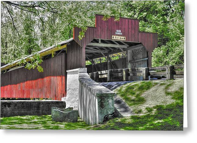 Hdr Landscape Greeting Cards - PA Country Roads - Geiger Covered Bridge Over Jordan Creek No. 5A-Alt - Lehigh County Greeting Card by Michael Mazaika