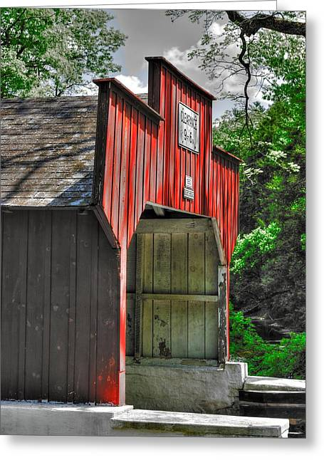 Hdr Landscape Greeting Cards - PA Country Roads - Geiger Covered Bridge Portal Over Jordan Creek No. 2A-Alt Close - Lehigh County Greeting Card by Michael Mazaika