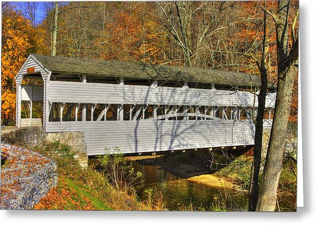 Knox Covered Bridge - Valley Forge Greeting Cards - PA Country Roads - Knox Covered Bridge Over Valley Creek No. 1C - Valley Forge Park Chester County Greeting Card by Michael Mazaika