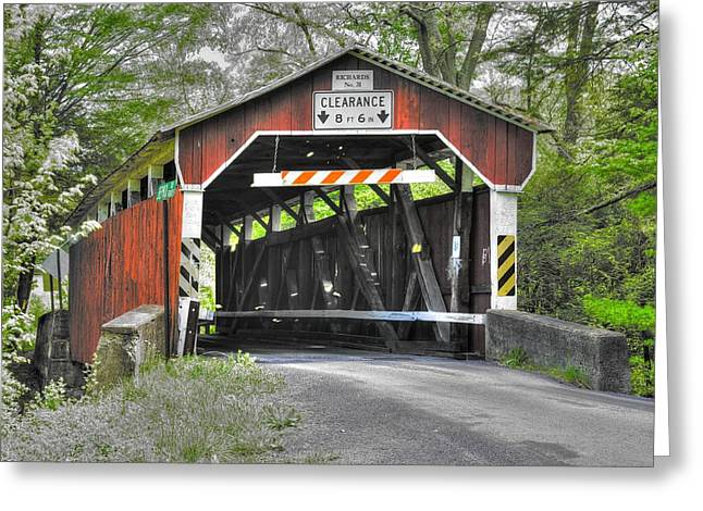 Hdr Landscape Greeting Cards - PA Country Roads - Richards Covered Bridge Over Roaring Creek No. 1B-Alt - Columbia County Greeting Card by Michael Mazaika