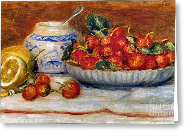 Strawberry Art Greeting Cards - P.a. Renoir: Strawberries Greeting Card by Granger