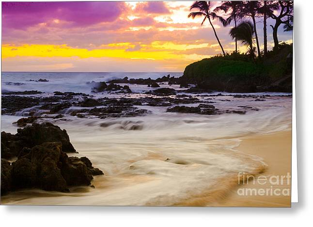 Paako Beach Sunset Jewel Greeting Card by Sharon Mau
