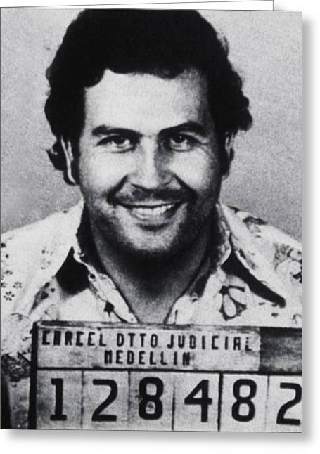 Police Art Greeting Cards - Pablo Escobar Mug Shot 1991 Vertical Greeting Card by Tony Rubino