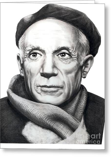 Pablo Picasso Greeting Cards - Pablo Picasso Greeting Card by Murphy Elliott