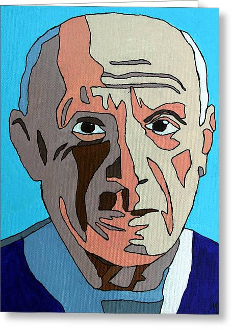 Pablo Mixed Media Greeting Cards - Pablo Picasso Greeting Card by Murray Stiller