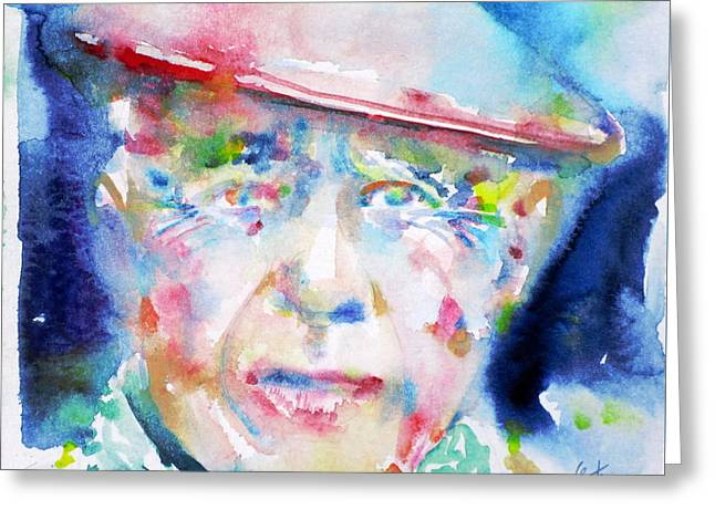Pablo Picasso Paintings Greeting Cards - PABLO PICASSO - watercolor portrait.4 Greeting Card by Fabrizio Cassetta