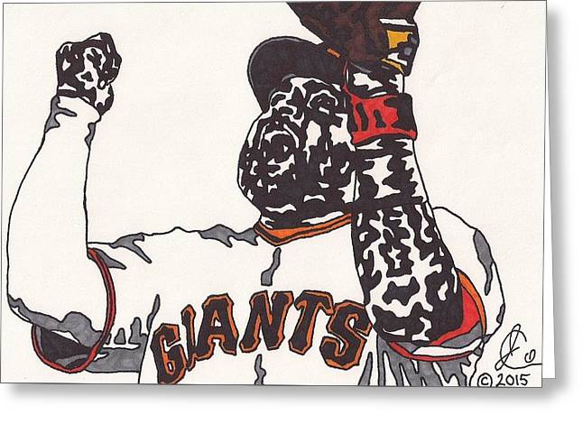 Thirdbase Greeting Cards - Pablo Sandoval Giants Greeting Card by Jeremiah Colley