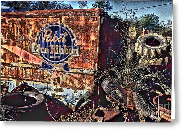 Photographers Dacula Greeting Cards - Pabst Blue Ribbon Delievery Truck Greeting Card by Corky Willis Atlanta Photography