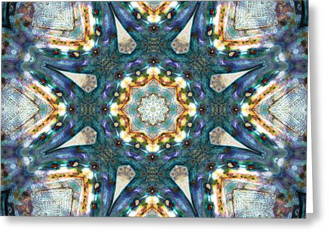 Shell Pattern Greeting Cards - Pacific Blue Greeting Card by Cricket Hackmann