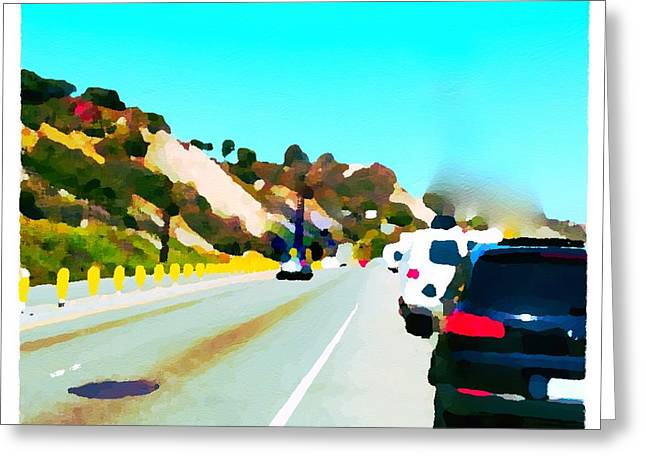 Pch Paintings Greeting Cards - Pacific Coast Highway Going South Greeting Card by Judith Kitzes