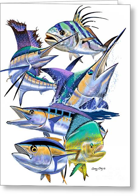 Pacific Gamefish  Greeting Card by Carey Chen