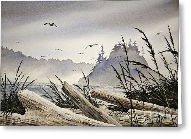 Artist James Williamson Maritime Print Greeting Cards - Pacific Northwest Driftwood Shore Greeting Card by James Williamson