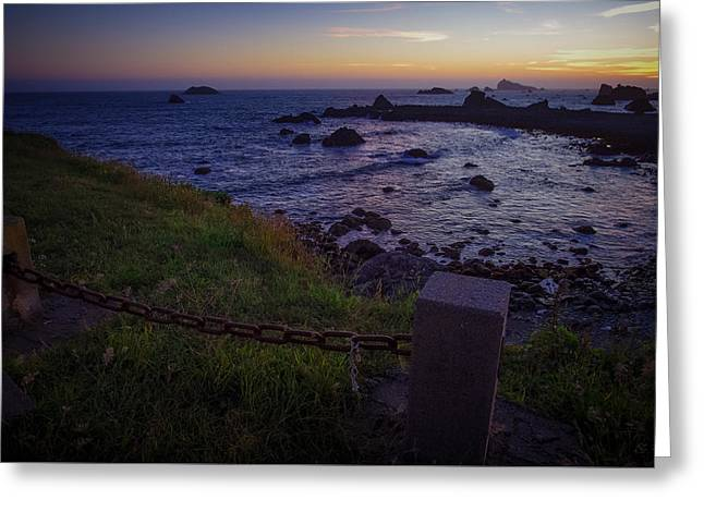 Pacific Ocean Cove Northern California Sunset Greeting Card by Scott McGuire