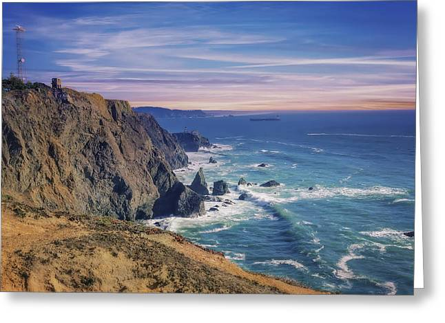 California Lighthouse Greeting Cards - Pacific Ocean view towards Point Bonita Lighthouse Greeting Card by Jennifer Rondinelli Reilly