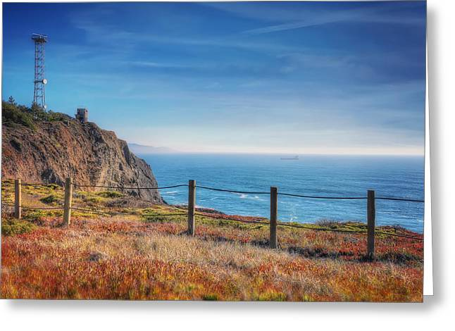 California Lighthouse Greeting Cards - Pacific Ocean view towards Point Bonita Lighthouse - Marin Headlands  Greeting Card by Jennifer Rondinelli Reilly
