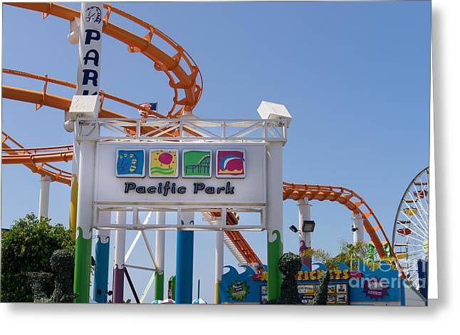 Rollercoaster Photographs Greeting Cards - Pacific Park at Santa Monica Pier in Santa Monica California DSC3676 Greeting Card by Wingsdomain Art and Photography