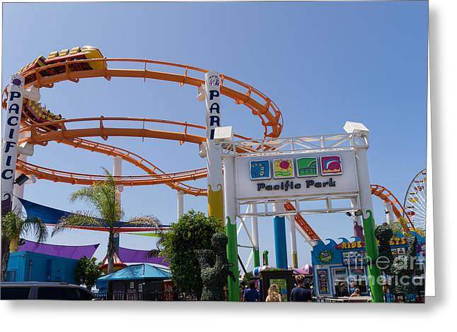 Rollercoaster Photographs Greeting Cards - Pacific Park at Santa Monica Pier in Santa Monica California DSC3678 Greeting Card by Wingsdomain Art and Photography