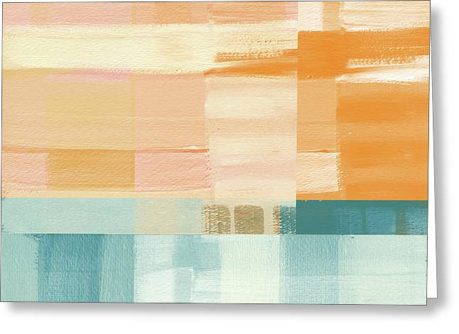 Abstract Waves Greeting Cards - Pacific Sunset- Abstract Art by Linda Woods Greeting Card by Linda Woods