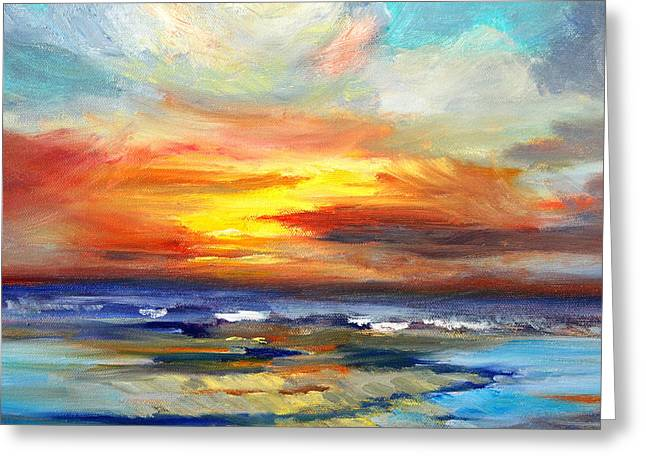 Abstract Beach Landscape Greeting Cards - Pacific Sunset Glow Greeting Card by Nancy Merkle