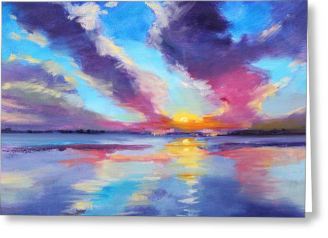 Abstract Beach Landscape Paintings Greeting Cards - Pacific Sunset Greeting Card by Nancy Merkle