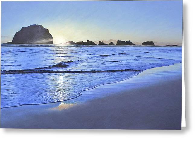 Beach Sunsets Pastels Greeting Cards - Pacific Sunset Greeting Card by Richard Laycock