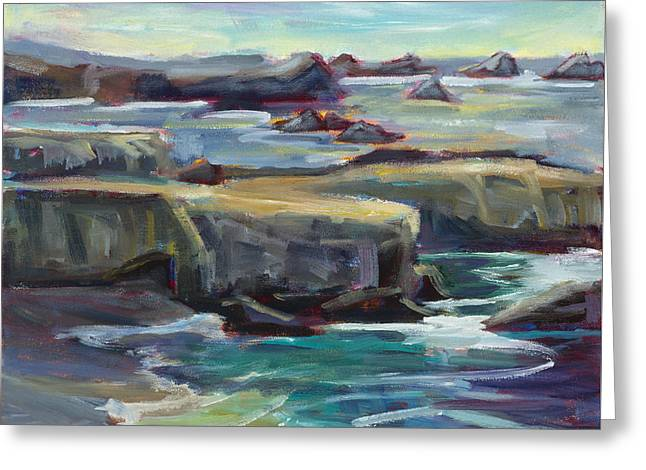 Pacific Waters, Plein Air Greeting Card by Marie Massey