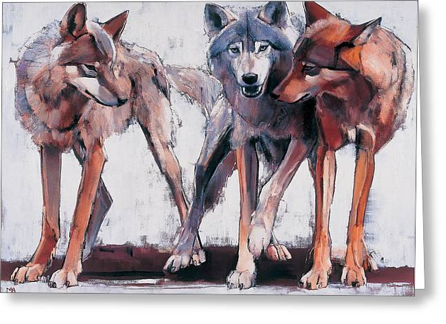 Wolf Portrait Greeting Cards - Pack Leaders Greeting Card by Mark Adlington