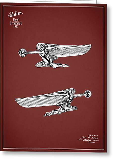 Packard Hood Ornament 1939 Greeting Card by Mark Rogan