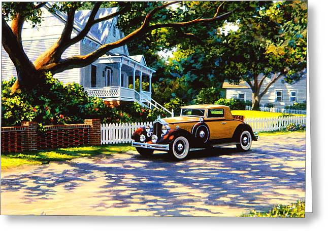 Rumble Greeting Cards - Packard on Captains Row Greeting Card by Frank Dalton