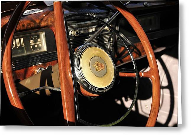 Antic Car Greeting Cards - Packard Steering Wheel Greeting Card by David Lee Thompson