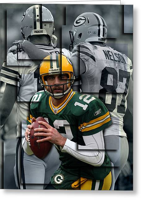 Team Greeting Cards - Packers Aaron Rodgers 2 Greeting Card by Joe Hamilton