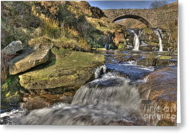 Packhorse Greeting Cards - Packhorse Bridge at Three Shires Head Greeting Card by David Birchall