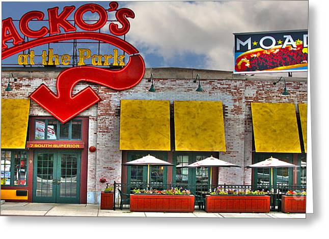 Hot Dog Greeting Cards - Packos at the Park Greeting Card by Jack Schultz