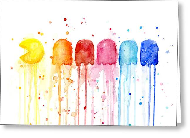 Funny Greeting Cards - Pacman Watercolor Rainbow Greeting Card by Olga Shvartsur