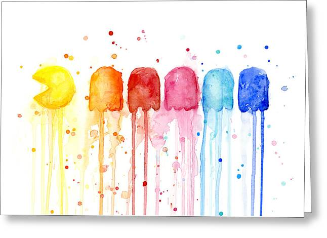 Arcades Greeting Cards - Pacman Watercolor Rainbow Greeting Card by Olga Shvartsur