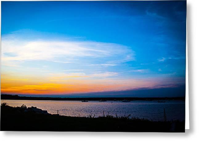 New England Ocean Greeting Cards - Padanaram Ma. sunset Greeting Card by Troy DeTerra